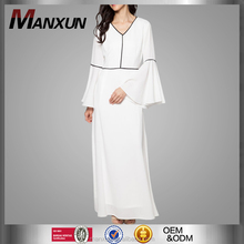 Long Dress Muslim Casual Wide Sleeve Cuff Snow White Dress V Neck Design Indonesia Abaya for Muslim Wear