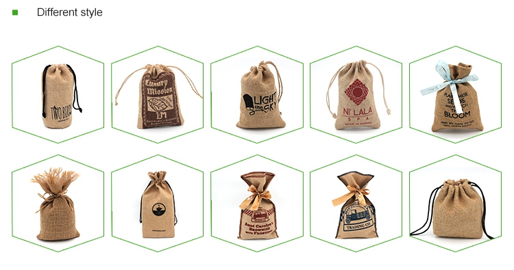 2017 New style natural small jute burlap drawstring pouch for coffee beans
