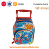 600D polyester kids travel school trolley bag with printing
