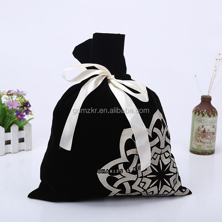 Customized printed black velvet jewelry gift pouch bag drawstring