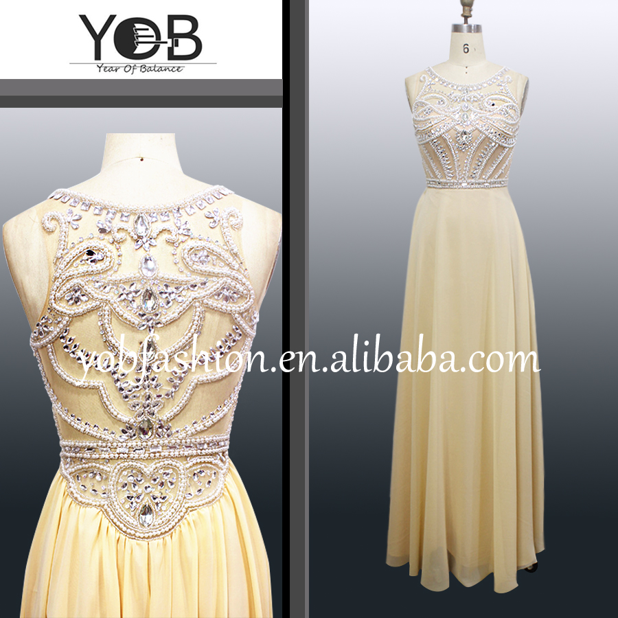 High quality real sample model heavy handmade crystal beading sleeveless chiffon evening dresses grace party dresses