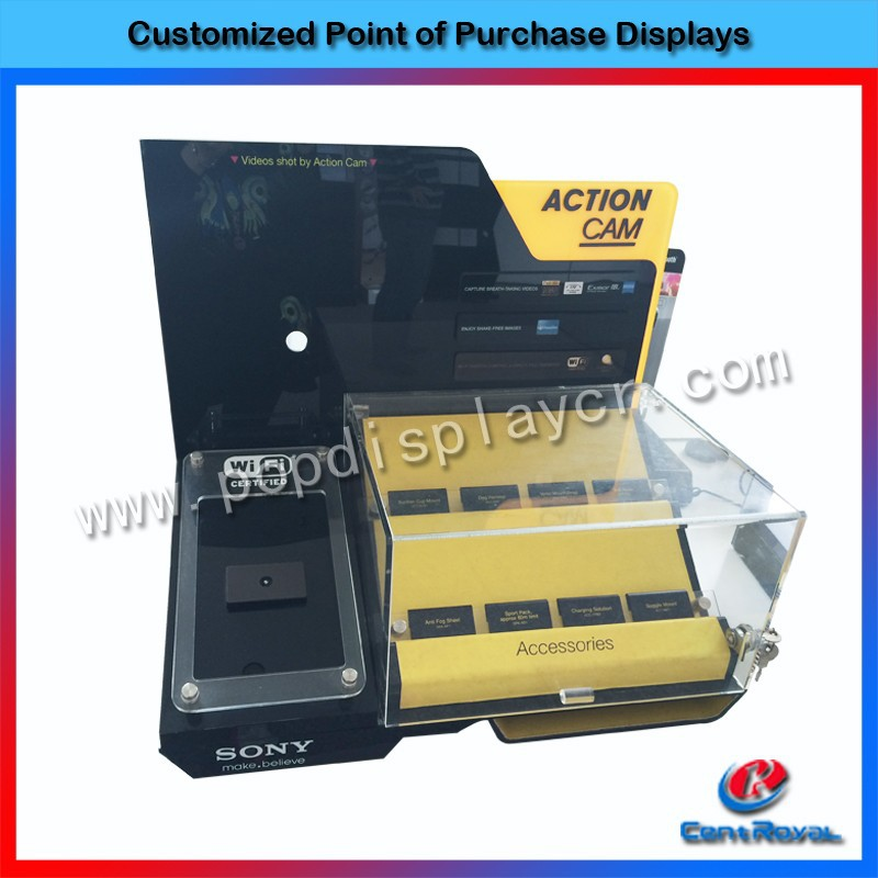 Hot sale customized acrylic counter camera display