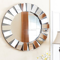 Round MDF unique small glass mosaic wall mirror