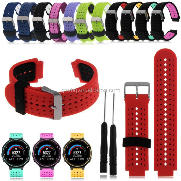 Double Color Silicone changeable watch Band Strap For Garmin Forerunner 220/230/235/630/620/735 Wrist Watch