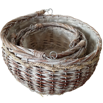 Natural garden wicker hanging flower baskets
