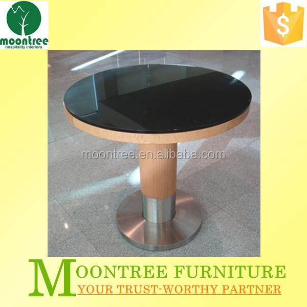 Moontree MDT-1173 2 seater round black tempered glass dining table