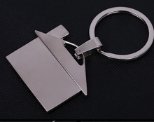 Stock cheap price metal house shape keychain with custom logo, funny zinc alloy key chains