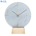 Marble design quarts analog mantel clock
