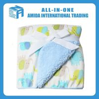 Thickening cartoon elephant pattern blue baby blankets