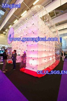 Inflatable transparent cube tent with LED