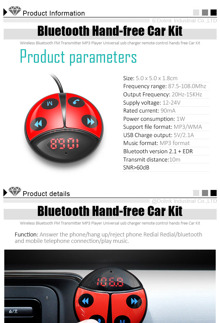 Factory Wholesale Support Hands-Free Call AUX 3.5mm Audio Output Receiver Car Kit With USB Car Charger Adapter
