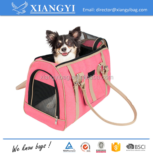 Luxury handbag dog purse stylish soft sided pink pet carrier for small dogs and cats