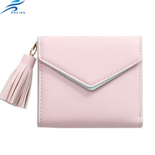 cheap pink color soft leather woman funky wallet