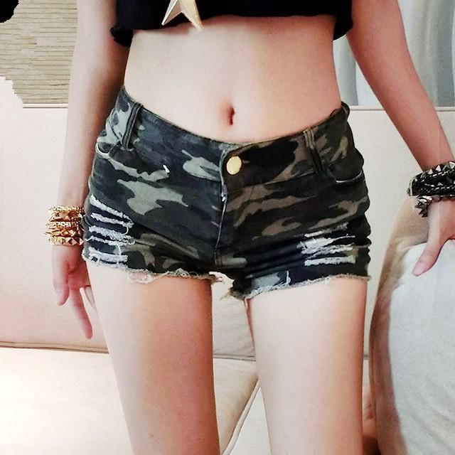 Queena European Style Camouflage High-waist Sexy Women Denim Shorts