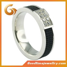 Men 4A level zircon and black mesh jewelry steel stainless rings