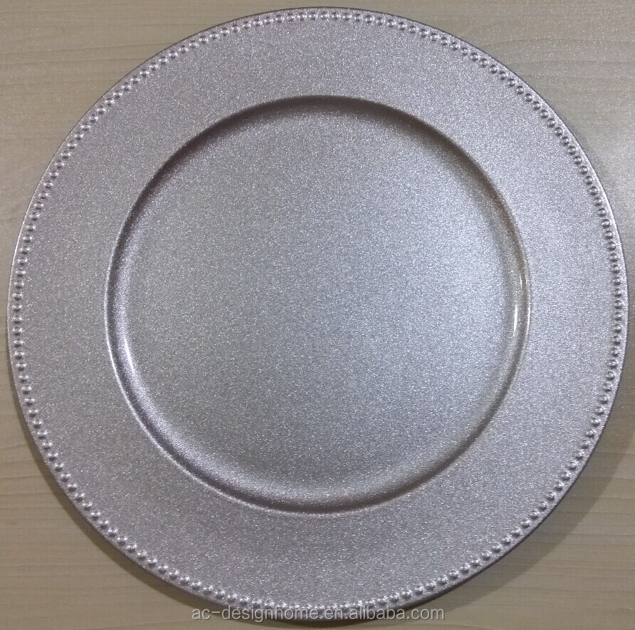 SILVER GLITTER PP PLASTIC CHARGER PLATE