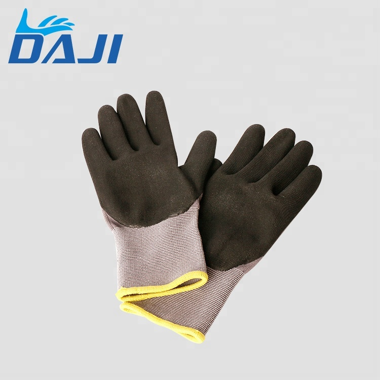 15G grey polyester grey nitrile coated safety glove