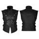 Y-738 PUNK RAVE Military Combat Cross Belt Inelastic laminating Denim Black Vest