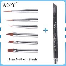 ANY Nail Care Newest Arrival Single Acrylic Handle 6PCS Nail Art Brush Set