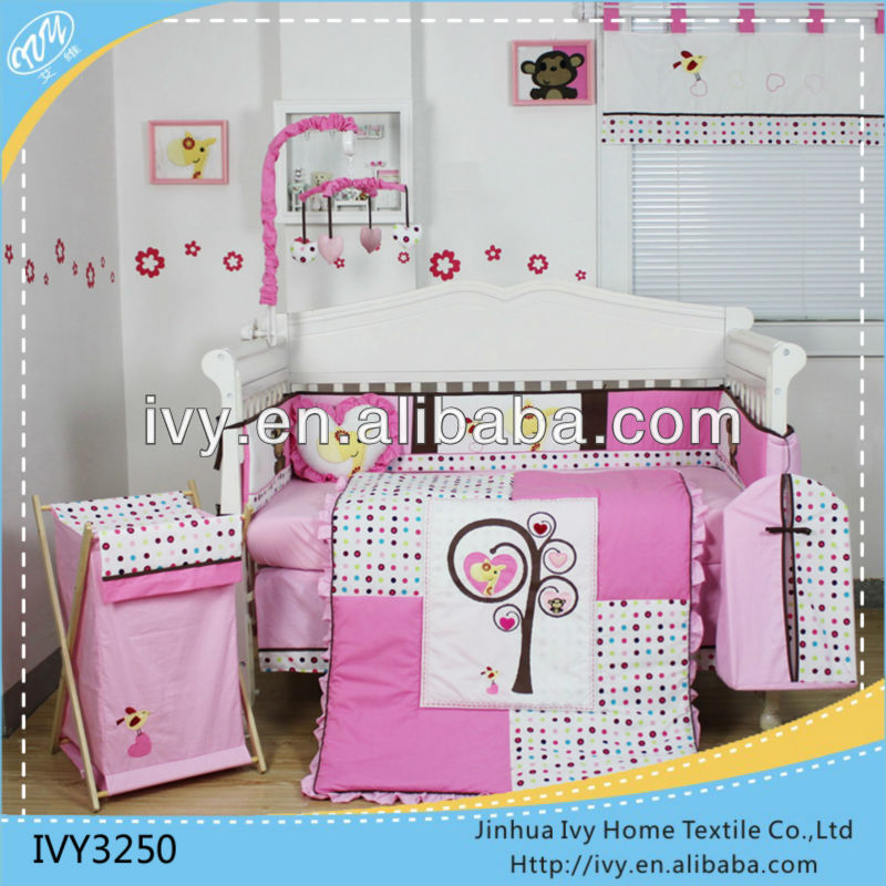 2016 cute pink baby bedding set luxury