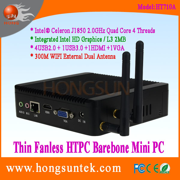 HT710A Intel Celeron J1850 2.0GHz Quad Core 4 Threads Fanless Barebone Mini PC with USB, WiFi and VGA