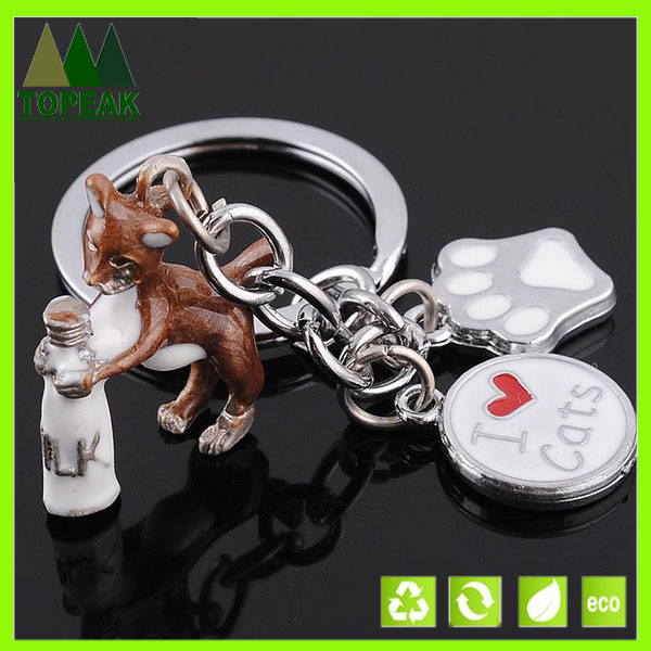 Metal 3d bottle milk &cat keychain