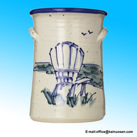 Ceramic Great Bay Pottery Wine Cooler With Adirondack Chair