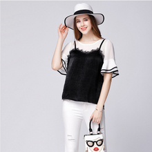 SN9236 2017 new arrivals false two piece women blouses plus size