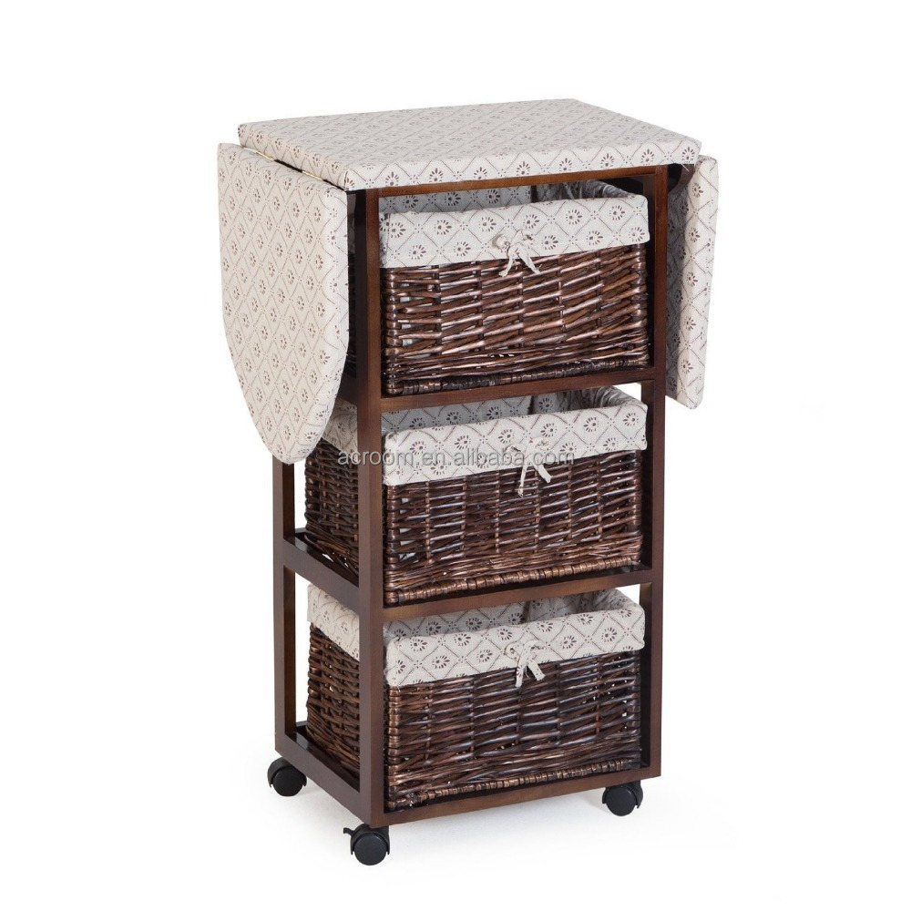 Wholesale antique wood cabinet ironing board table with wicker baskets