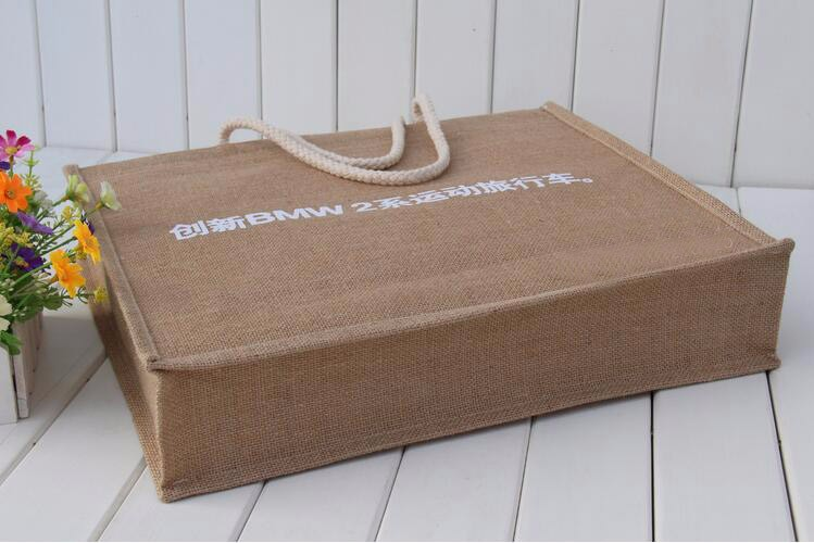 Custom eco friendly waterproof tote shopping  jute pouch bag burlap linen packing gift bag with logo print