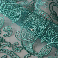 Famous lace shop pearl and stone and crystals fabrics / tulle lace white / turquoise bead fabric for Nigerian wedding dress