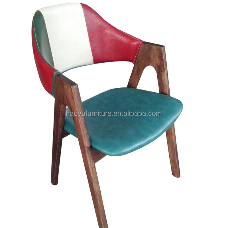 Mxd13 italian leather dining chair colorful chair woven for Colorful leather dining chairs