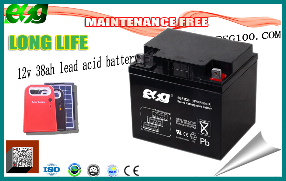 AGM For solar system Agm battery maintenance free battery 12v 38ah LEAD ACID led lighting BATTERY with low price