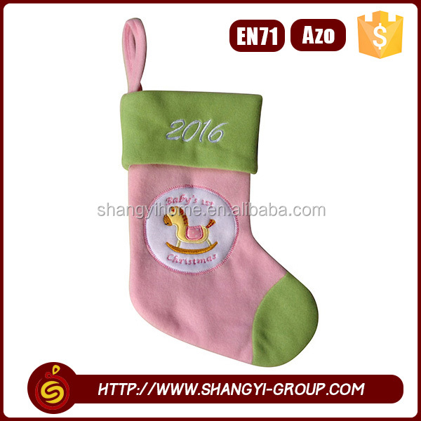 Cheap colorful christmas socking wall decoration in home decor