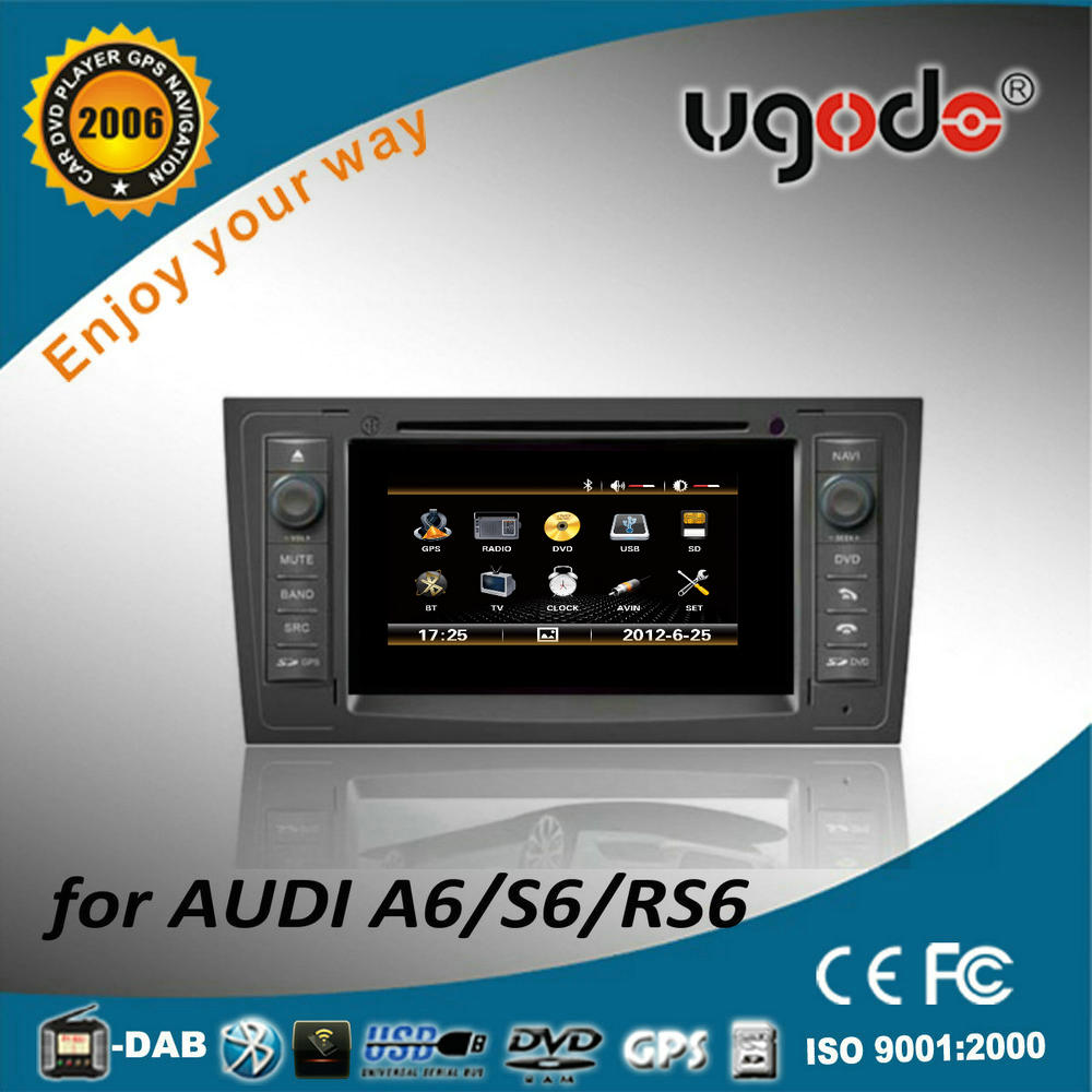 7 inch double din car radio DVD gps player for Audi A6 /S6/RS6 with wince 6.0 system