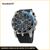 3027G Good Quality Genuine Leather Strap 10ATM Water Resistant Waterproof Strong Chrono Sport Watches Men