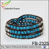 Deep blue turquoise nature stone and CCB plastic round beads bracelet