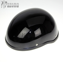 Pazoma Black Custom Skull Cap Novelty Low Profile Motorcycle Half Helmet Gloss Black Half Helmet For Chopper Bobber Cruiser Bike