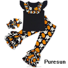 High quality OEM Chrismas Halloween and Easter holiday children girls Icing short and pant clothing set