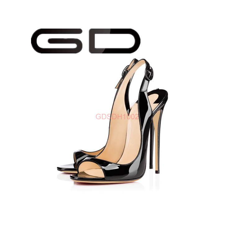 black leather super size high heels nightclub women shoes sandals
