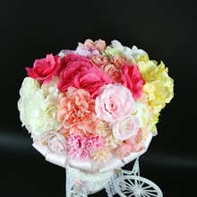 Mutil-color Rose Plumeria Carnation with Lace Rhinestone Handle Wedding Bridal Silk Rose Artificial Flower Bouquet