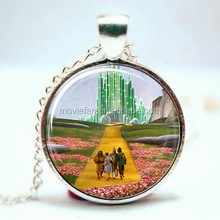 Wizard of Oz Necklace- Emerald City Necklace Glass Photo Cabochon Necklace