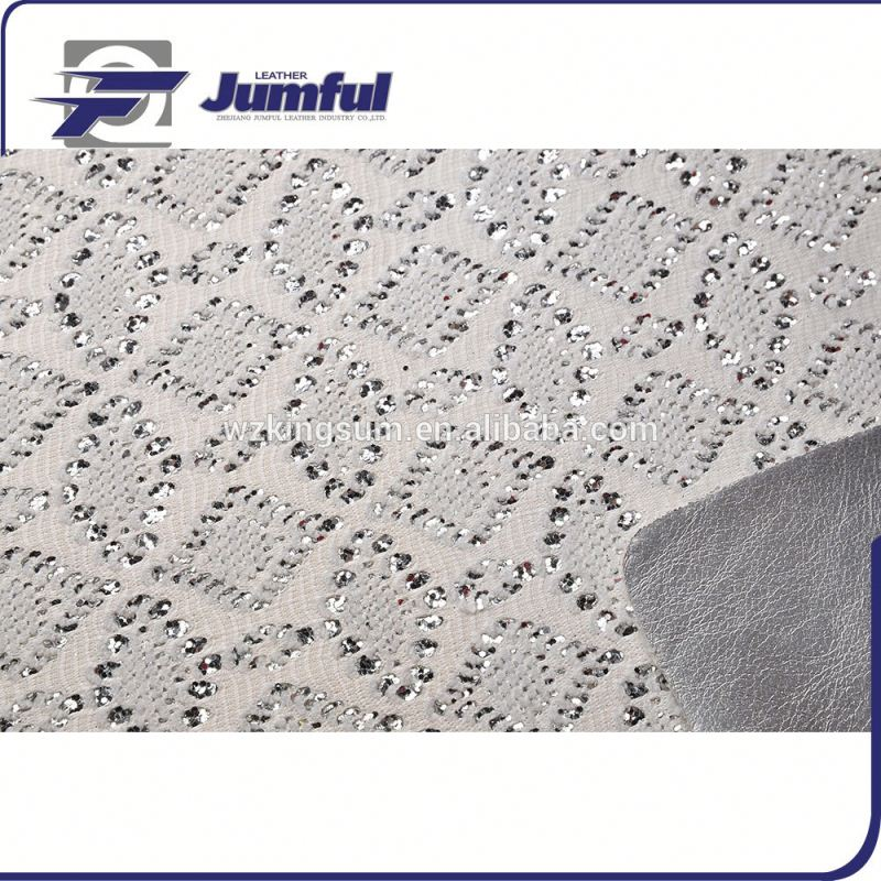 Super Shining laser glitter pu/pvc synthetic leather with great price