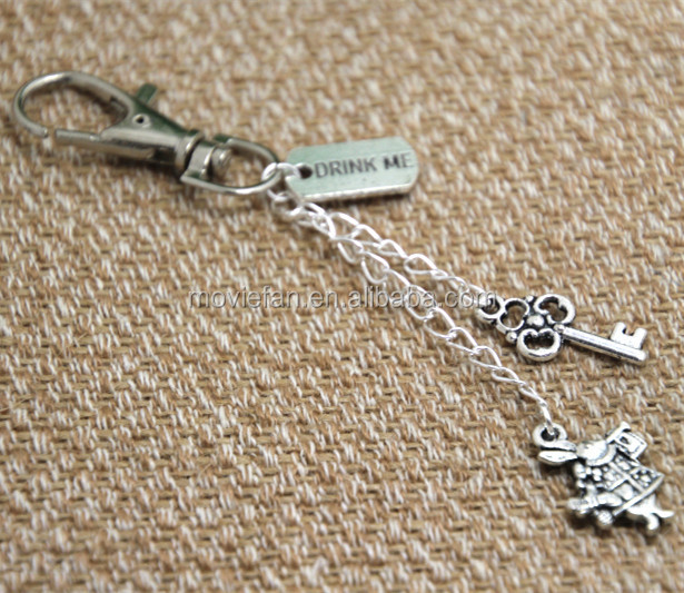 Alice in Wonderland inspired Key ring drink me charm Key Chain rabbit charm in silver