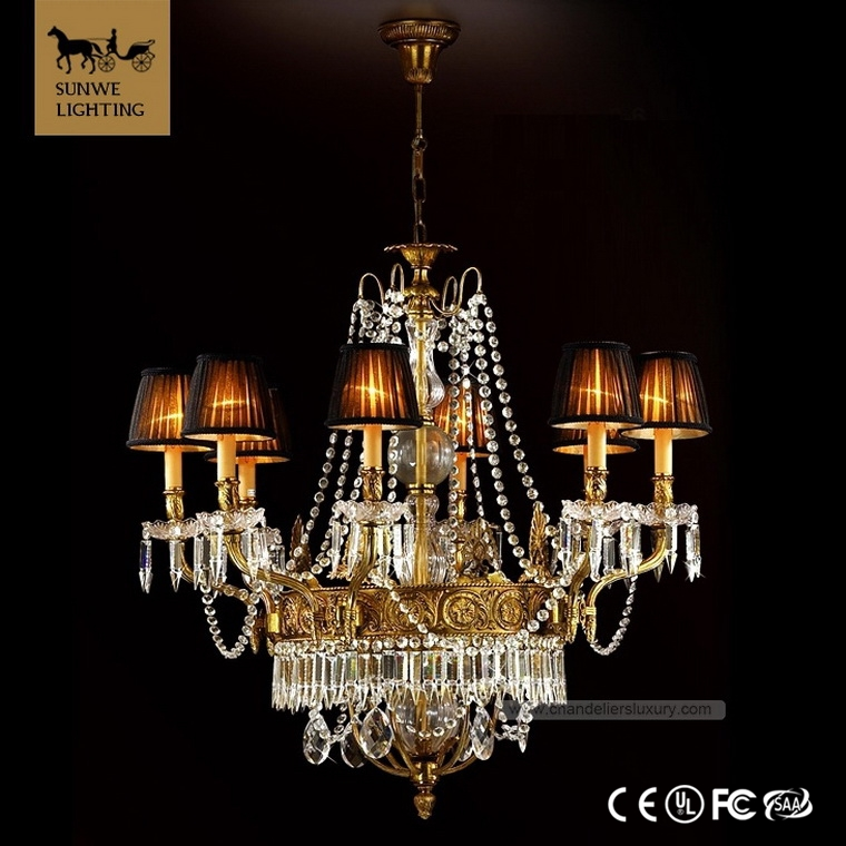 Custom Made Baroque 8 Lights black Bedroom Lampshade Bronze 2013 asfour crystal chandelier prices