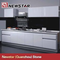 Custom white lacquer kitchen cabinet made in China