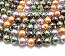 Professional custom and wholesale various colors and various sizes full holes south sea shell pearl faceted round loose strands