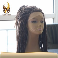 most popular cheap price large stock black synthetic braided lace front wigs for black women