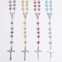 Acrylic Beads & Silver Tone Metal Crucifix & Lady of Miracles Center Catholic Rosary Gift ITALY