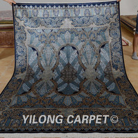 Yilong 5.5'x8' old silk carpet hand knotted floral turkish silk hot persian rugs